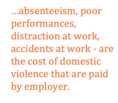 Text Box: …absenteeism, poor performances, distraction at work, accidents at work - are the cost of domestic violence that are paid by employer.